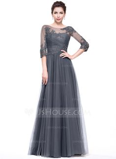 A-Line/Princess Scoop Neck Floor-Length Tulle Evening Dress With Ruffle Beading Appliques Lace Sequins (017065555) - JJsHouse