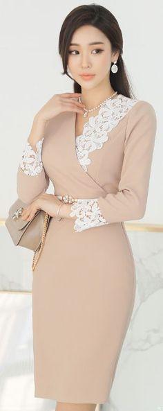 StyleOnme_Floral Lace Detail Wrap Style Dress #soft #pastel #lace #feminine #dress #koreanfashion #seoul #kstyle #floral #elegant #springtrend