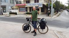 This photo was taken at the very start of my cycling trip from Greece to England, on May 8th 2016.