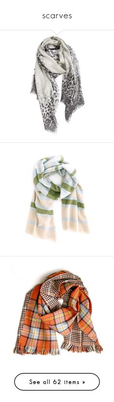 """""""scarves"""" by kristina-bishkup ❤ liked on Polyvore featuring accessories, scarves, grey combo, leopard shawl, silk shawl, grey shawl, cashmere scarves, lightweight scarves, striped shawl and merino wool shawl"""