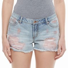 Juniors' Candie's® High-Waist Ripped Jean Shortie Shorts, Teens, Size: 11, Blue Other
