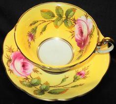 EB Foley RAMBLER ROSE Yellow Signed Tea cup and saucer Teacup