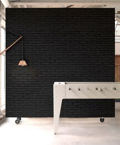 Black Brick Wallpaper – Piet Hein Eek for NLXL – director office interior Room Divider Headboard, Metal Room Divider, Bamboo Room Divider, Living Room Divider, Room Divider Walls, Diy Room Divider, Fabric Room Dividers, Wooden Room Dividers, Hanging Room Dividers