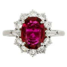 Ruby and Diamond Cluster Ring | From a unique collection of vintage cluster rings at http://www.1stdibs.com/jewelry/rings/cluster-rings/
