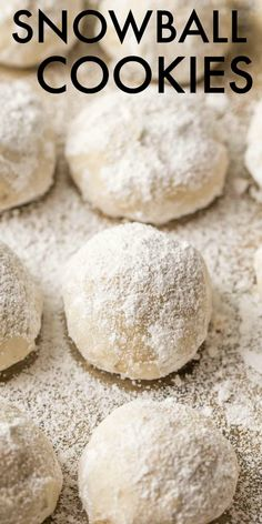 Soft and flaky cookies made with chopped butter, pecans and flour, coated with powdered sugar. The BEST homemade snowball cookies. #valentinascorner #cookies #cookierecipe #dessert #snowballcookies
