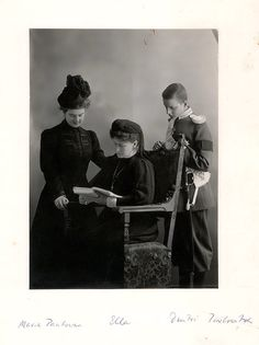 Grand Duchess Elizaveta Fyodorovna and her foster-children Grand Duchess Maria Pavlovna and Grand Duke Dmitri Pavlovich, mourning for the late Grand Duke Sergei Alexandrovich, 1905