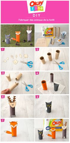 DIY: The animals of the forest Create animals from rolls of paper towels Origami Paper, Diy Paper, Towel Animals, Autumn Activities, Woodland Party, School Holidays, Forest Animals, Paper Toys, Animals For Kids