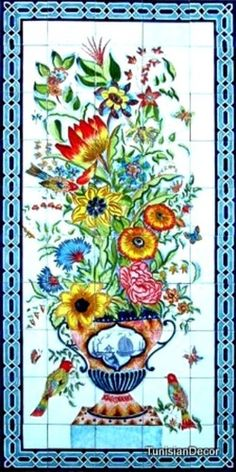 Decorative Ceramic Tiles Mosaic Panel Hand Painted Wall Mural Art 60in x 30in |