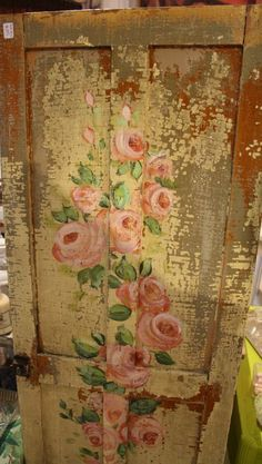 Hand painted rose door, Shabby Chic pink and green decor