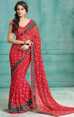 Picture of Ravishing Red and Black Color Party Wear Saree