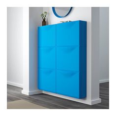 TRONES Shoe/storage cabinet - blue - IKEA (shallow toddler-friendly storage)