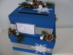 Custom Wedding Card Box Personalized 2 tiered Silver Winter Wonderland Snowflakes You Customize Colors, Decor Personalized Tag