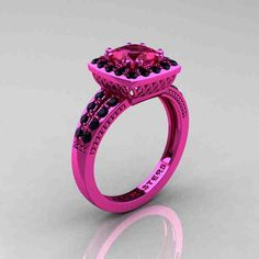 Pink And Black Diamond Engagement Rings
