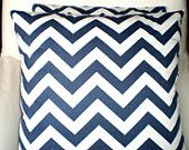 Pillows Decorative Pillows Accent Pillows Throw Pillow Cushion Covers Navy and White Zig Zag  - Two 18 x 18  Contemporary