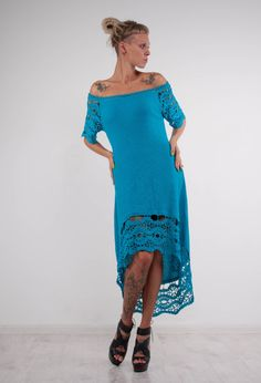 CROCHET turquoise Dress asymmetric Dress Handmade Maxi Dress Crochet  Dress KNIT…