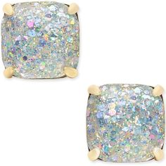 kate spade new york 14k Gold-Plated Glittery Purple Square Stud... ($38) ❤ liked on Polyvore featuring jewelry, earrings, white, square earrings, square stud earrings, white gold plated earrings, purple jewelry and white stud earrings