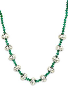 Emerald Beaded Necklace with Sterling Silver Charms | Cirque Jewels