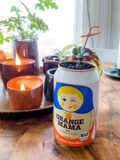 ingeblikte vetplant Candle Jars, Candle Holders, Candles, Lemonade, Diys, Orange, Plants, Candlesticks, Candle Mason Jars