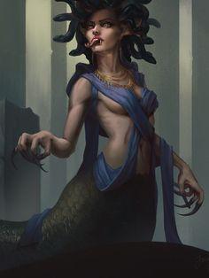 Medusa Painting, Medusa Art, Medusa Gorgon, Medusa Tattoo, Dark Fantasy Art, Dark Art, Yuri, Humanoid Creatures, Beautiful Goddess