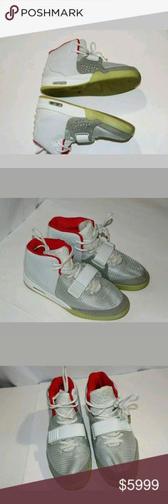 Nike Air Yeezy 2 Platinum Wolf Grey Kanye West Nike Air Yeezy 2 Platinum Wolf Grey  508214-006 US 9.5. Has aome riny spots and normal wear of shoe tag is peeling inside the ahoe and medal tips are missing off both shoe strings but should  be easy to get replaced and should be easy to clean these are 100% athentic Air Yeezy Shoes Sneakers