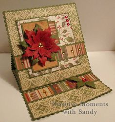 Poinsettia easel card by shulsart - Cards and Paper Crafts at Splitcoaststampers Christmas Paper Crafts, Christmas Cards To Make, Xmas Cards, Handmade Christmas, Holiday Cards, Christmas Items, Diy Cards, Poinsettia Cards, Christmas Poinsettia