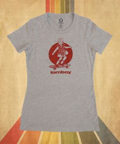 Skateboarding graphic tee, tomboy t-shirt #longboarding #skateboarding #retro