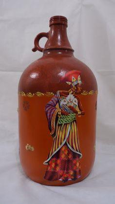 Arteirices da Dru: P.A.P de Reciclagem de Garrafão de Vinho com Tema Africano.