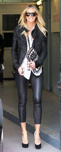 Black leather on Elle Mc Pherson