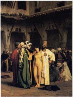 Slave Market or Le Marché aux esclaves (1884), oil on canvas painting by French painter and sculptor Jean-Léon Gérôme (1824-1904)