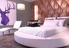 Headboard Ideas From Our Favorite Designers David covered an accent wall in sculptural, laser-cut mahogany to create a dramatic backdrop for the room's nightclub-inspired round bed. Minimal twin headboards, covered in the same sleek, white vinyl as th… Cool Headboards, Headboard Decor, Twin Headboard, Bedroom Decor, Funky Bedroom, Bedroom Headboards, Bedroom Bed, Modern Bedroom, Bed Room