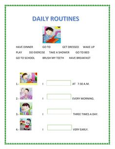 Dialy routines - Interactive worksheet - Health and wellness: What comes naturally English Activities For Kids, English Worksheets For Kids, Grammar Worksheets, Daily Routine Worksheet, Easy Grammar, Learn Arabic Alphabet, English Exercises, Learning Arabic, Do Exercise