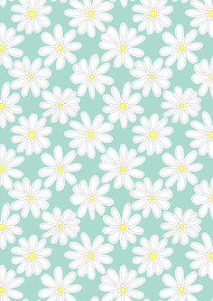 Bright Happy Daisies on Mint Art Print by perrinlefeuvre