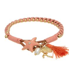 "7"" camel brown tone faux leather bracelet featuring a peach enamel coated starfish shaped closure accented by a peach tone thread wrapping and gold tone beading."