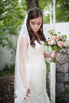 Nashville Garden Wedding Venue   CJ's Off the Square   Peach Bridal Bouquet - Photo: Cynthia Michelle
