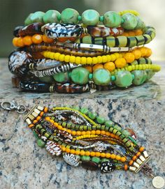 Polynesia Cuff: Tortoise Shell, Yellow, Green and Silver Multi-Strand Cuff Bracelet $200