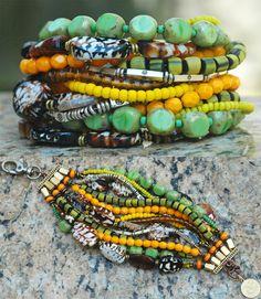 Polynesia Cuff: Tortoise Shell, Yellow, Green and Silver Multi-Strand Cuff Bracelet $200