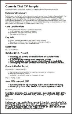example of chef resume Commis Chef CV Sample Business Resume Template, One Page Resume Template, Cv Template, Resume Templates, Resume Objective Examples, Resume Examples, Resume Format, Sample Resume, Teaching Statement