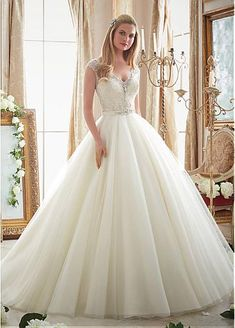 Fabulous Tulle V-Neck Neckline Ball Gown Wedding Dresses With Beaded Embroidery #blackfriday
