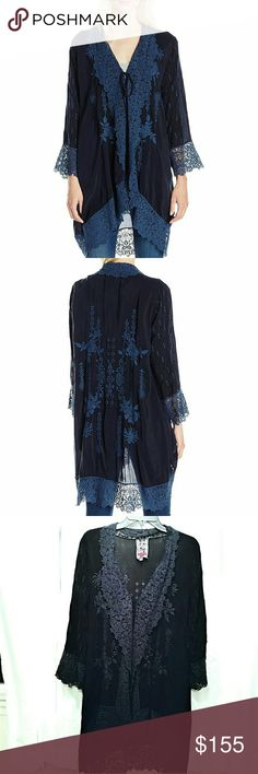 """Johnny Was jacket Johnny Was Collection lace-trim georgette jacket. Scalloped shawl collar; open front. Long sleeves. Relaxed silhouette. High-low scalloped hem. 35"""" long in back. Rayon. Machine wash. Johnny Was Sweaters Cardigans"""