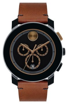 Movado 'Bold' Chronograph Leather Strap Watch, 44mm available at #Nordstrom