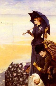 """""""Sur la Plage"""" ~ Albert Aublet (1851 – 1938,French)"""