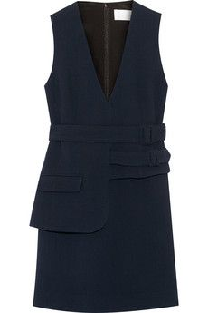 Victoria, Victoria Beckham Belted wool-crepe mini dress | NET-A-PORTER