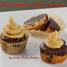 "Peanut Butter ""Cookie"" Cupcakes  vegan, plantbased, earth balance, made just right"