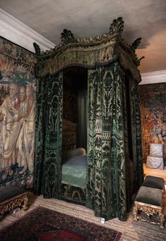 Green Velvet bed, Hardwick Hall.  18th century green velvet bed with matching chairs was brought by the 6th Duke from Londesborough and must have originally been made for the 3rd Earl of Burlington.