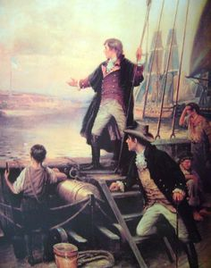 American Heritage #2 Painting, By Dawn's Early Light (Francis Scott Key near Ft McHenry/Flag in Distance).