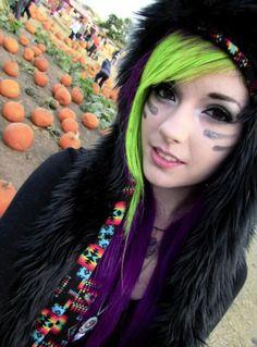 Leda Monster Bunny - bright lime and purple hair :)