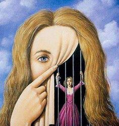 Rafal Olbinski ~ Surrealist painter =art idea= stitch mask onto another drawing interactive curtain Manon Lescaut, Rene Magritte, Wassily Kandinsky, Grafik Design, Surreal Art, Persona, Fantasy Art, Cool Art, Awesome Art