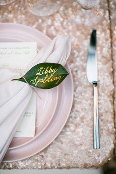 Blush dinnerware, sequin linen, Maui wedding inspiration, Set Maui, Callaway Gable Photography