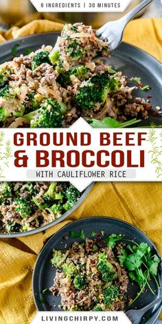 This is a quick and easy recipe for healthy Ground Beef and Broccoli, with cauliflower rice. 9 ingredients, 20 minutes and ONE PAN. Gluten-Free. Can also be made Keto, Low-Carb, Paleo and Whole 30-friendly. #recipe #onepot #onepotrecipes #onepotdinners #keto #ketorecipes #ketodietrecipes #ketodietforbeginners #ketorecipeseasy #ketorecipesdinner #lowcarbrecipes #lowcarbdinner #easyrecipe #easydinnerideas #easydinnerrecipes #glutenfree #glutenfreerecipes #easylowcarbrecipes Healthy Ground Beef, Ground Beef Recipes Easy, Paleo Recipes Easy, Beef Recipes For Dinner, Supper Recipes, Healthy Beef And Broccoli, Ground Beef And Broccoli, Broccoli Beef, Broccoli Recipes