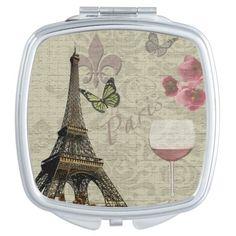 Vintage Paris Eiffel Tower Collage Compact Mirror